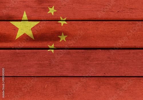 Foto op Plexiglas Peking China flag on wooden surface