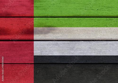 Fotobehang Abu Dhabi United Arab Emirates flag on wooden surface