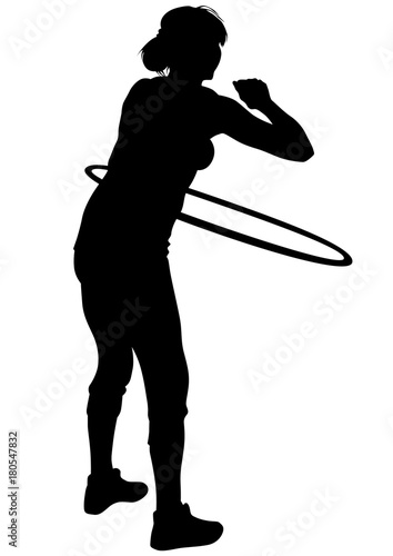 Young woman with a hula hoop on a white background