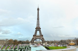 Eiffel tower panoramic view in a cloudy day, Paris, France