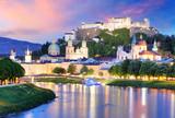 Historic city of Salzburg with Hohensalzburg Fortress at dusk, Salzburger Land, Austria - 180548663