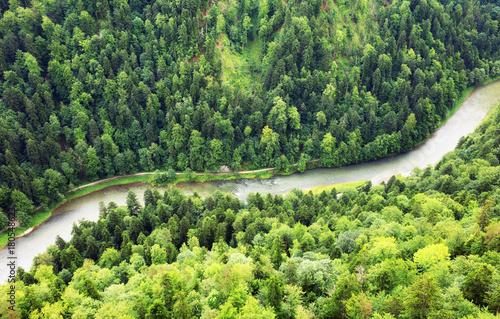 Mountain river between mountain green peaks landscape