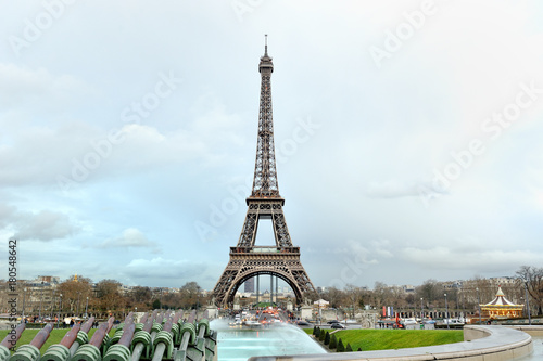 Fotobehang Eiffeltoren Eiffel tower panoramic view in a cloudy day, Paris, France