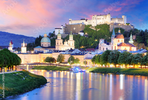 Historic city of Salzburg with Hohensalzburg Fortress at dusk, Salzburger Land, Austria