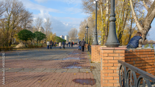 Foto op Plexiglas Kiev Quay of the Dnieper Bay in Kiev