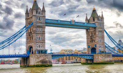 The Tower Bridge on a overcast day, London