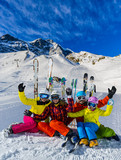 Happy family enjoying winter vacations in mountains. Playing with snow, Sun in high mountains. Winter holidays. - 180556858