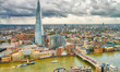 Aerial skyline of London, southern side of Thames