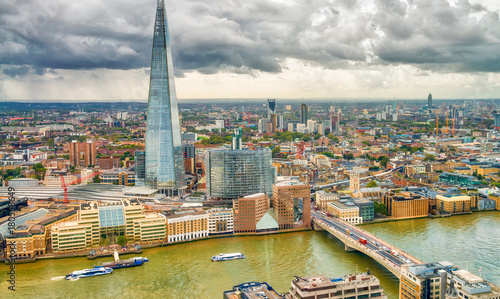 Fotobehang London Aerial skyline of London, southern side of Thames