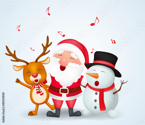 Fotobehang Wit Merry Christmas background with Santa claus, snowman and reindeer