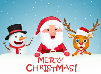 Merry Christmas background with Santa claus, snowman and reindeer