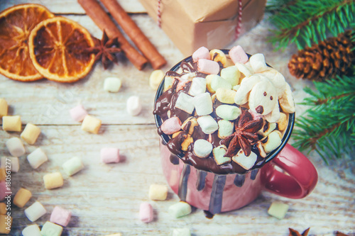 Foto op Canvas Chocolade Hot chocolate and marshmallow on christmas background. Selective focus.