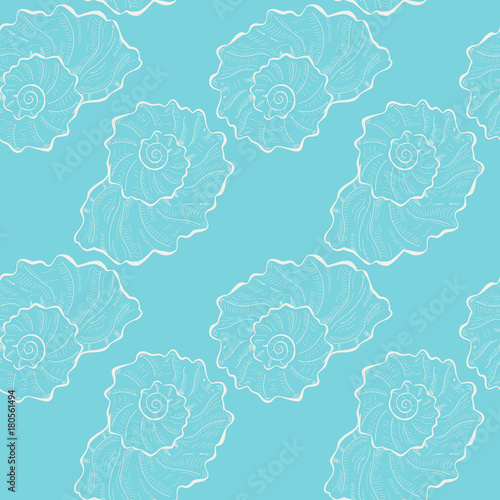 Cotton fabric Hand drawn white seashell seamless pattern on blue baclground. Summer background, textile, backdrop, wrapper with sketched seashell.
