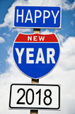 Hapy New Year 2018 written on american roadsign - 180561668
