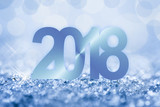 2018 blue snow and bokeh greeting card - 180561690