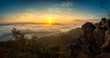 Fog on the mountain. morning fog in the mountains. beautiful landscape with mountain view and morning fog on sunrise. amazing natural background. Sunrise   of dense fog, thailand.