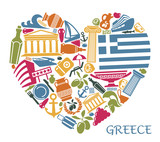 Symbols of Greece in the form of heart - 180563259