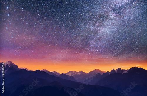 Fantastic starry sky. Thick fog on the mountain pass Goulet. Georgia, Svaneti. Europe