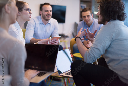 Startup Business Team At A Meeting at modern office building - 180565418