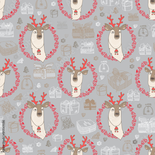 Materiał do szycia Vector seamless pattern with cute deer and gift.