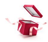 Red open gift box with ribbon isolated on white background