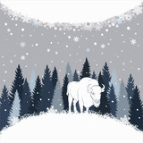 Card with bison on the forest background and snow. Winter vector background with place for inscription.