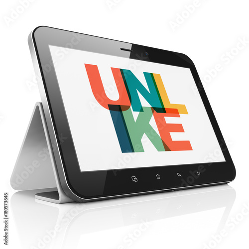 Social network concept: Tablet Computer with Painted multicolor text Unlike on display, 3D rendering - 180573646
