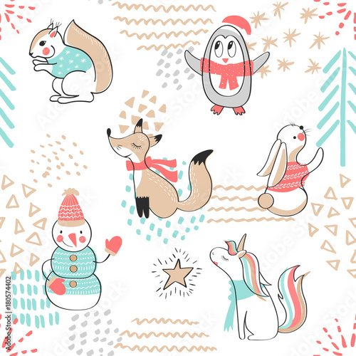 Materiał do szycia Seamless pattern with cute penguin,snowman, Fox,unicorn, squirrel and rabbit. Hand Drawn vector illustration. Background with cartoon animals.
