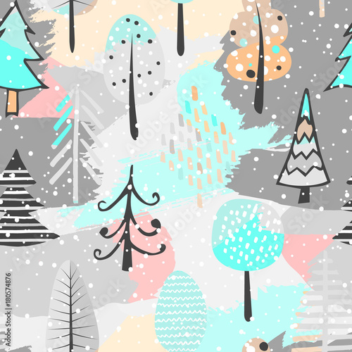 Cotton fabric Cute seamless pattern with tree. Hand Drawn vector illustration. Background with abstract elements.