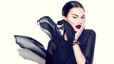 Sexy beauty model girl with dark lips wearing stylish chiffon dress - 180578642