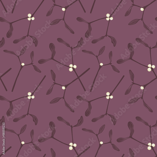 Cotton fabric pattern of mistletoe