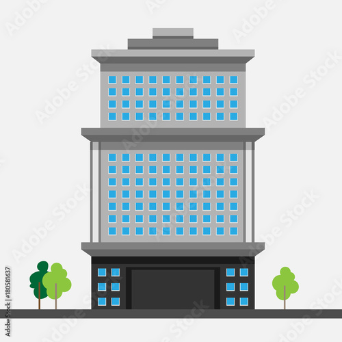 Fototapeta A modern multi-storey building with a complex design. The concept of construction. Vector illustration.