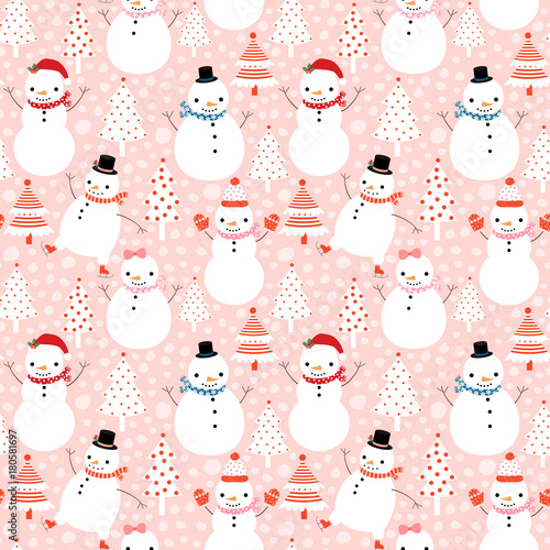 Cotton fabric Cute vector winter seamless pattern with cartoon snowmen in flat style with hats and scarves on pink background with Christmas trees