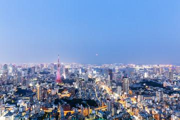 modern cityscape at twilight