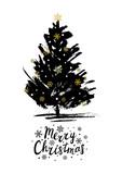 Christmas greeting card with Xmas tree sketch