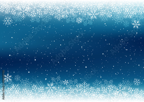 Wall mural Christmas background with white snowflakes border
