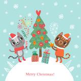 Christmas card. Christmas tree and cats