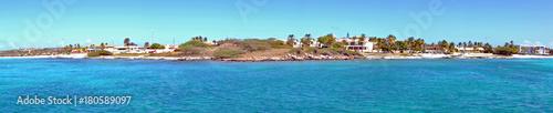 Keuken foto achterwand Panoramafoto s Panorama from the west coast on Aruba island in the Caribbean Sea