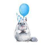 Fototapety Chinchilla with balloon. Watercolor birthday card