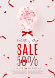 Promo Poster for Valentine's Day Sale. Beautiful Background with Realistic Transparent Pink Air Balloon with Confetti. Vector Illustration with Satin Ribbons. Seasonal Offer. - 180592010
