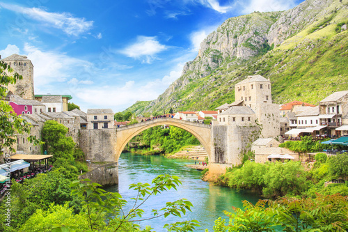 Fotobehang Bergrivier Beautiful view of the medieval town of Mostar from the Old Bridge in Bosnia and Herzegovina