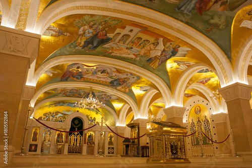 Poster Belgrade, Serbia - October 24, 2017: The Serbian Orthodox Christian Church of St Sava built
