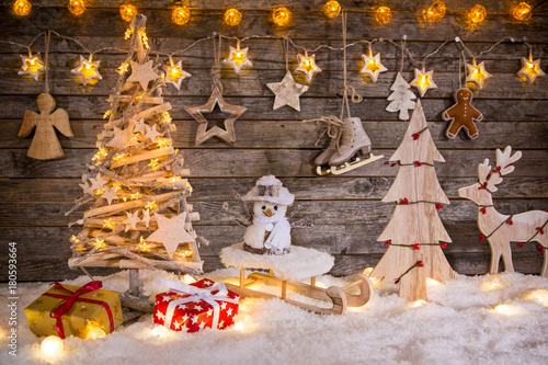 Christmas decoration on wooden background - 180593664