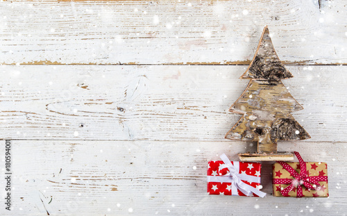 Christmas decoration on wooden background - 180594001