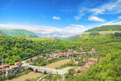 Foto op Canvas Pistache Beautiful view of the ancient fortress Tsarevets in the mountains, in Veliko Tirnovo, Bulgaria