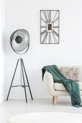 Living room with designer clock