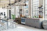Attic loft kitchen interior. - 180600460