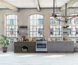 Attic loft kitchen interior. - 180600493