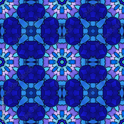 Fototapeta Abstract seamless pattern, stained glass, blue, pink, purple color