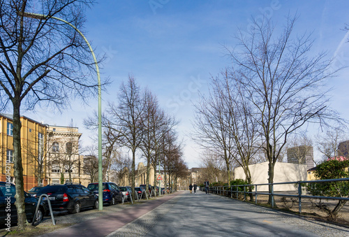 Fotobehang Berlijn BERLIN, GERMANY- March 4,2017 : Typical Street view March 4,2017 in Berlin, Germany. Berlin is the capital of Germany. With a population of approximately 3.5 million people.BERLIN, GERMANY